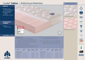 Irisette Lotous Matratze Datenblatt