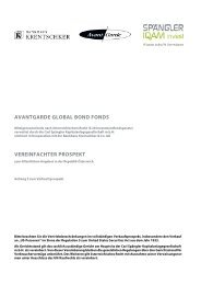 AVANTGARDE GLOBAL BOND FONDS - Bankhaus Krentschker ...