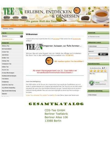 Katalogtitel CDS-Tee GmbH Produktkatalog Gesamtkatalog