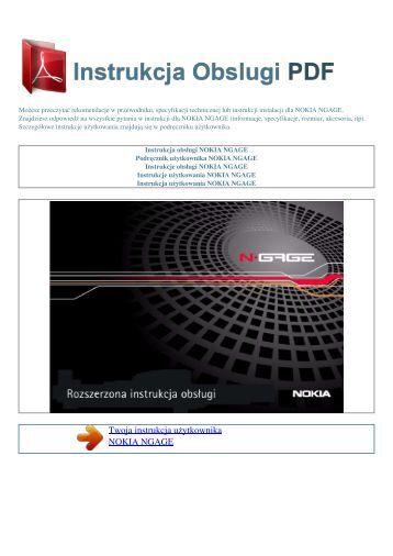 Instrukcja obsługi NOKIA NGAGE - INSTRUKCJA OBSLUGI PDF