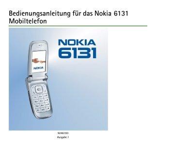 Bedienungsanleitung Für Das Nokia 6131 Mobiltelefon
