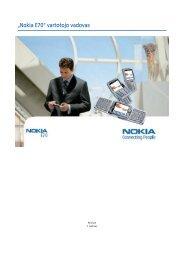 """""""Nokia E70"""" vartotojo vadovas"""