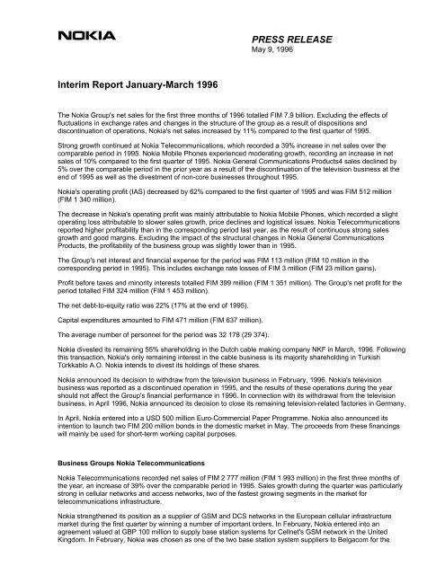 PRESS RELEASE Interim Report January-March 1996 - Nokia Trader