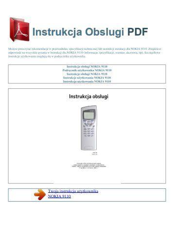 Instrukcja obsługi NOKIA 9110 - INSTRUKCJA OBSLUGI PDF