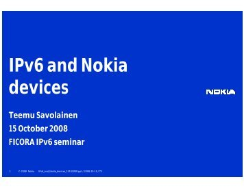 IPv6 and Nokia devices