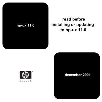read before to hp-ux 11.0 installing or updating