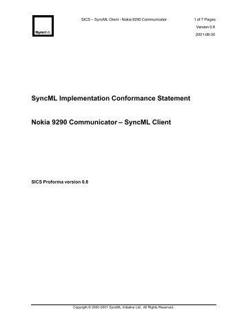 SyncML Implementation Conformance Statement Nokia 9290 ...