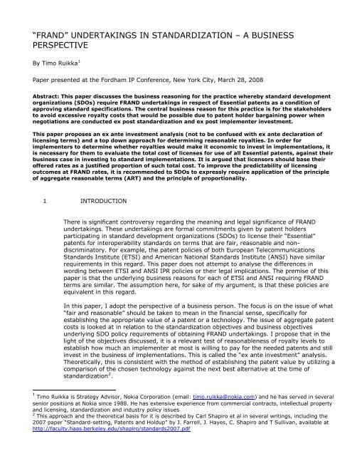 Nokia Standard Document Template - Fordham IP Conference