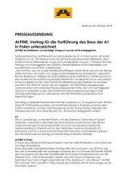 PRESSEAUSSENDUNG ALPINE: Vertrag f