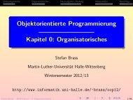 Objektorientierte Programmierung, Kapitel 0: Organisatorisches