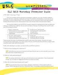 SLC 2013 Workshop Presenter Guide - Student Leadership ...