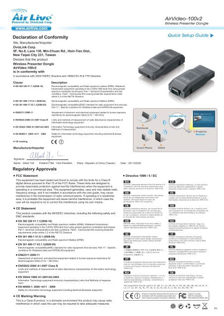 DRIVERS FOR AIRLIVE AIRVIDEO-100V2 PRESENTER DONGLE