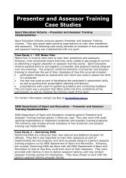Presenter and Assessor Training Case Studies