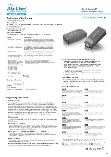 Driver UPDATE: AirLive AirVideo-100v2 Presenter Dongle