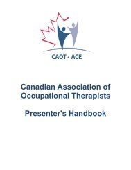 Presenter's Handbook - Canadian Association of Occupational ...