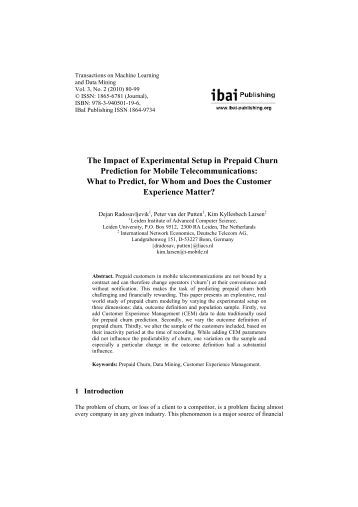 The Impact of Experimental Setup in Prepaid Churn ... - ibai Publishing