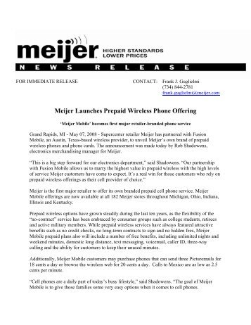 Meijer Launches Prepaid Wireless Phone Offering