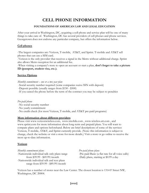 CELL PHONE INFORMATION - Georgetown Law