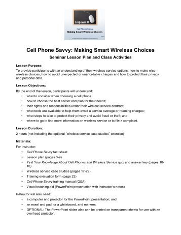 Cell Phone Savvy: Making Smart Wireless Choices - Consumer Action