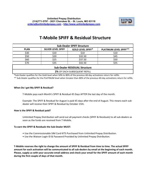 T-Mobile SPIFF & Residual Structure - Unlimited Prepay