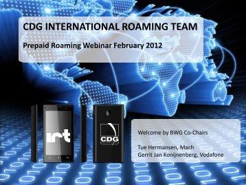 CDG INTERNATIONAL ROAMING TEAM - CDMA Development Group