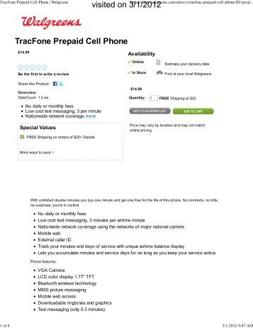 TracFone Prepaid Cell Phone | Walgreens