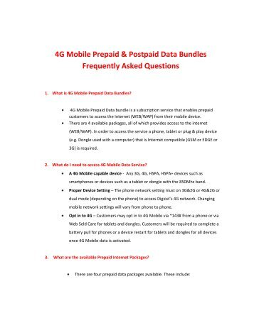4G Mobile Prepaid & Postpaid Data Bundles ... - Digicel Jamaica