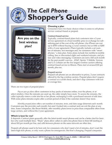The Cell Phone Shopper's Guide - Citizens Utility Board