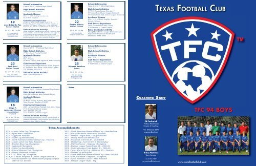 TEXAS FOOTBALL CLUB - Scouting Solutions Trainer