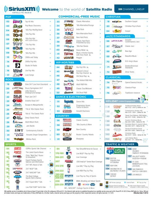 XM Channel Guide - Sirius Satellite Radio