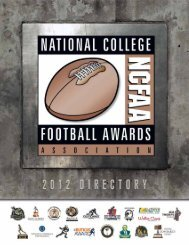 2012 National College Football Awards Association Master Calendar