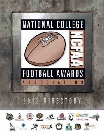 2012 National College Football Awards Association Master Calendar
