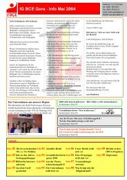 IG BCE Gera - Info Mai 2004 - IG BCE - THUERINGEN