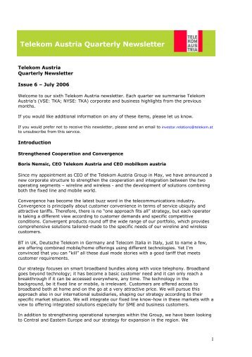 Complete Newsletter - Telekom Austria Group