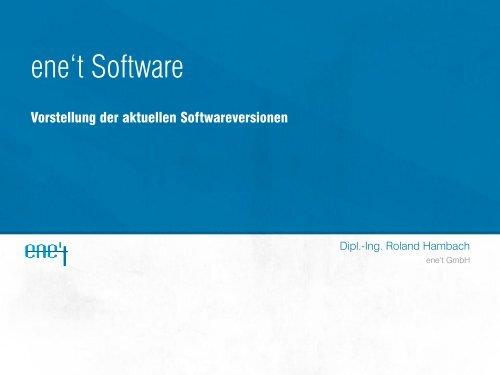 Vorstellung der aktuellen Softwareversionen Roland Hambach ...