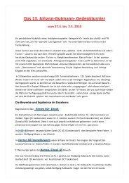 Das 13. Johann-Gutmann- Gedenkturnier vom 27.4. bis 2.5. 2010