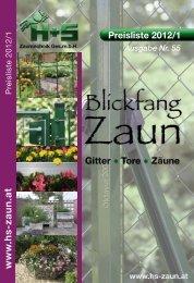 Preisliste 2012/1 Ausgabe Nr. 55 - H+S Zauntechnik Ges.m.b.H. A ...