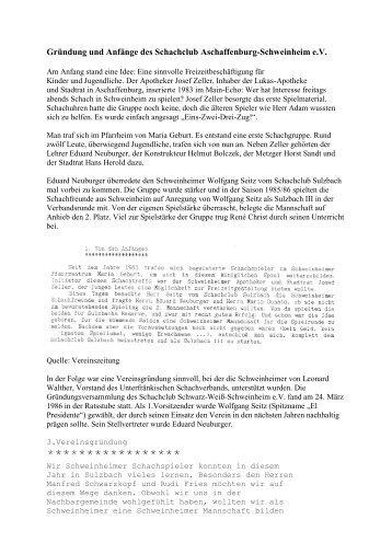 Gründung des Schachclub Aschaffenburg-Schweinheim e