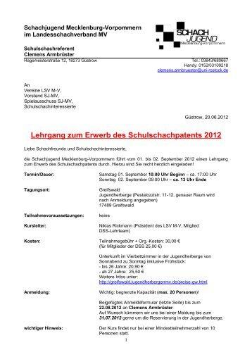 Lehrgang zum Erwerb des Schulschachpatents 2012