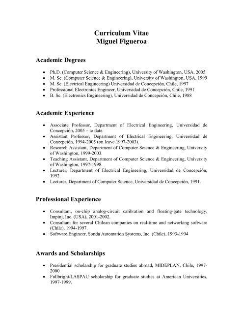 Curriculum Vitae Miguel Figueroa Universidad De Concepcion
