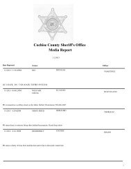 Cochise County Sheriff's Office Media Report