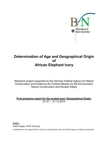 Determination of Age and Geographical Origin of African Elephant ...