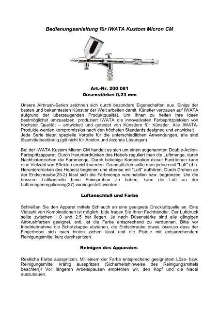 Bedienungsanleitung für IWATA Kustom Micron CM - Createx ...