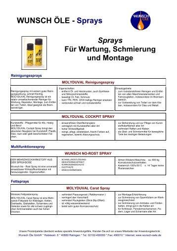 WUNSCH ÖLE - Sprays - Wunsch Öle GmbH