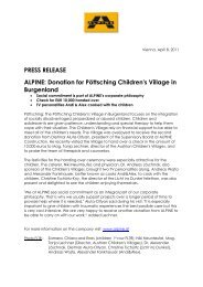 PRESS RELEASE ALPINE: Donation for P