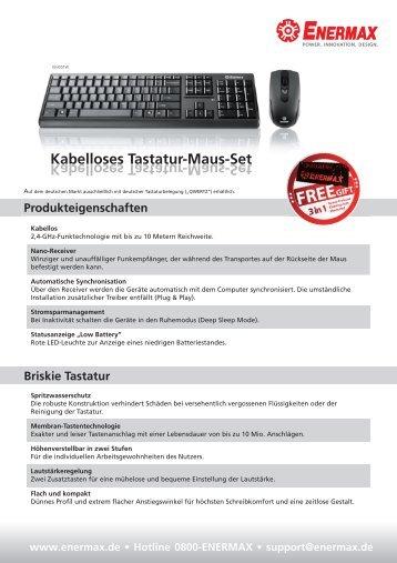 Kabelloses Tastatur[Maus[Set - Enermax