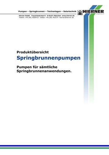 Produktübersicht Springbrunnenpumpen Pumpen ... - Hierner GmbH
