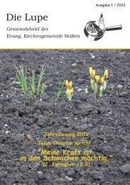 Ausgabe I/2012 - Evangelische Kirchengemeinde Seißen
