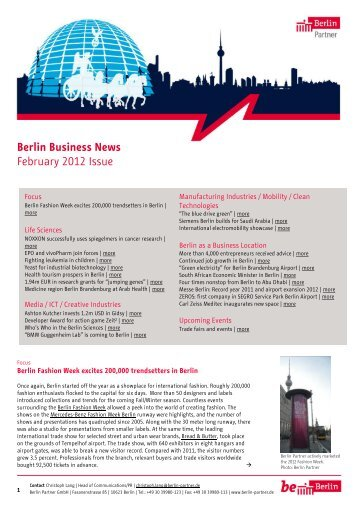 Berlin Business News February 2012 Issue - Berlin Partner GmbH