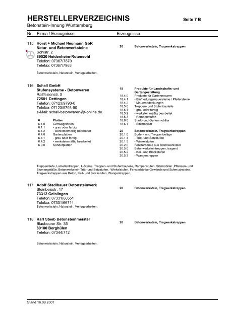 HERSTELLERVERZEICHNIS - Betonbauteile Baden-Württemberg